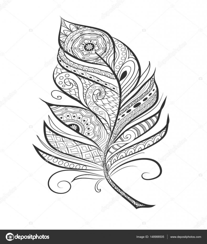 Zen Dolaştırmak Sayfa Boyama Için Tüy Stilize Stok Vektör Xenia