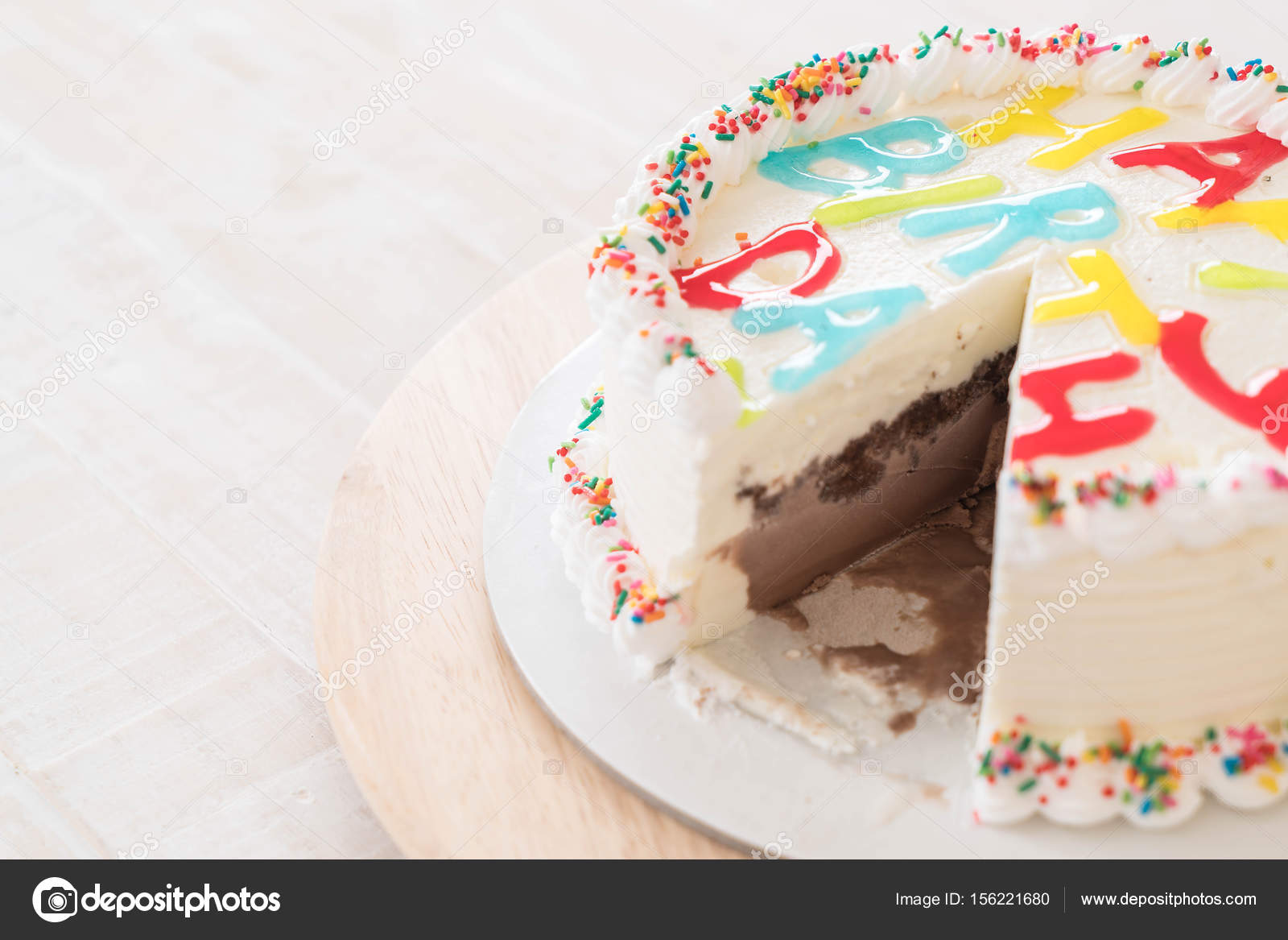 Happy Birthday Cake On Table Stock Photo Topntp 156221680