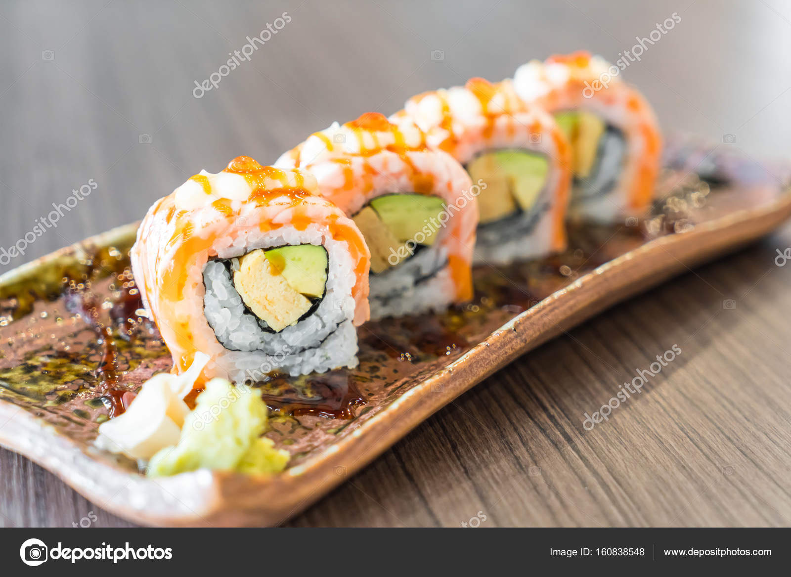 Grilled Salmon Sushi Roll Stock Photo Image By C Topntp 160838548