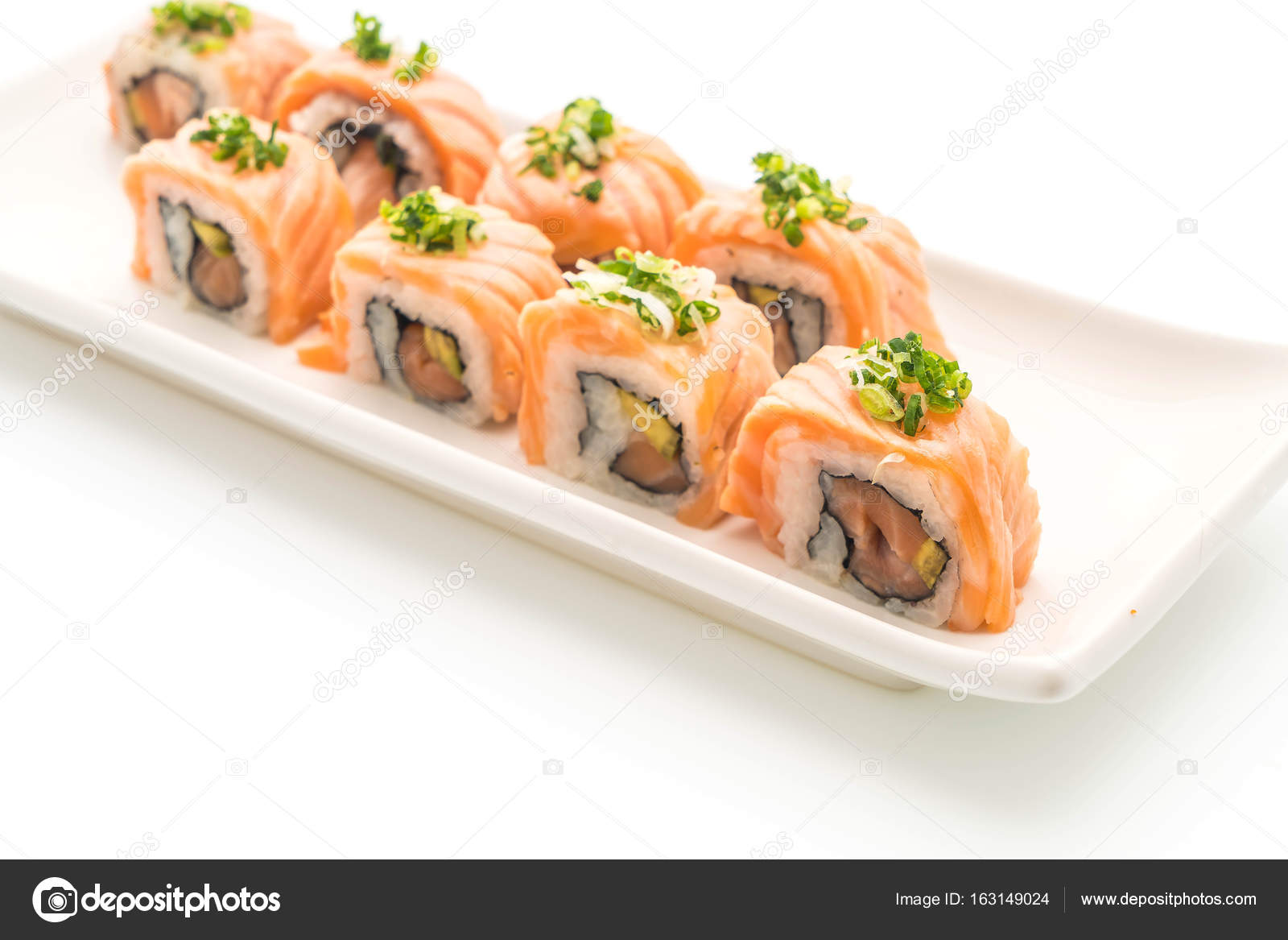 Grilled Salmon Sushi Roll Japanese Food Style Stock Photo C Topntp 163149024