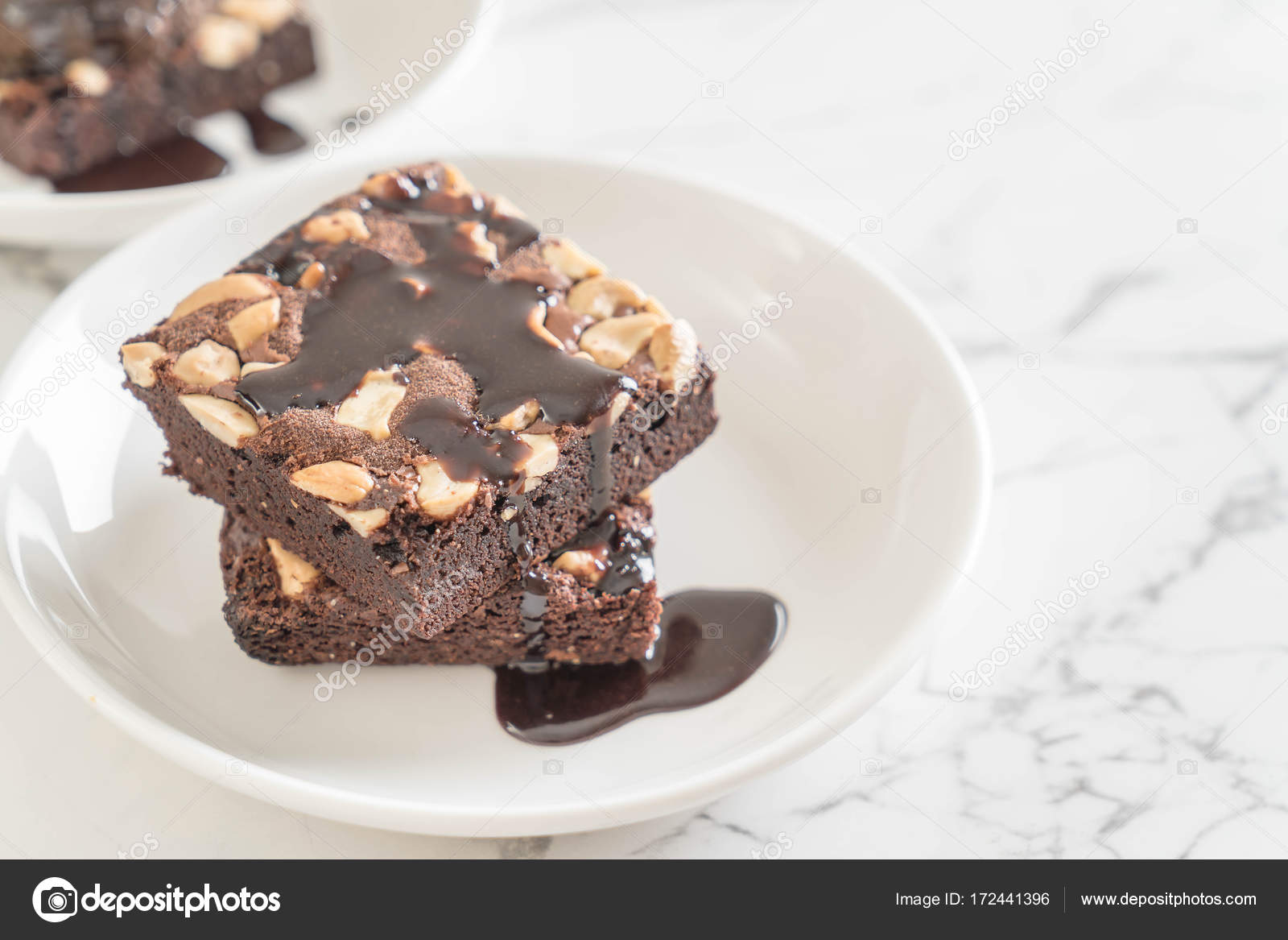 Chocolate Brownies With Chocolate Sauce Stock Photo C Topntp