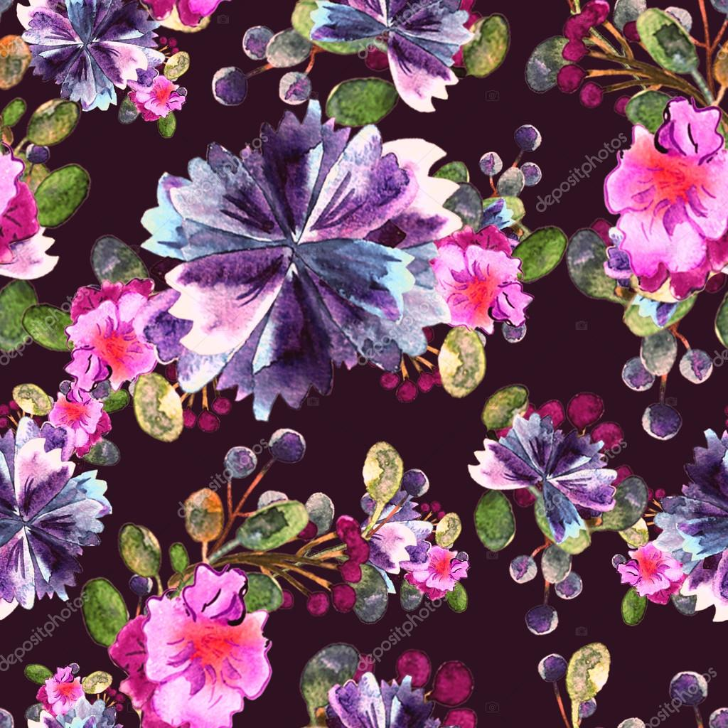 Watercolor Floral Pattern Seamless With Purple And Pink Bouquet