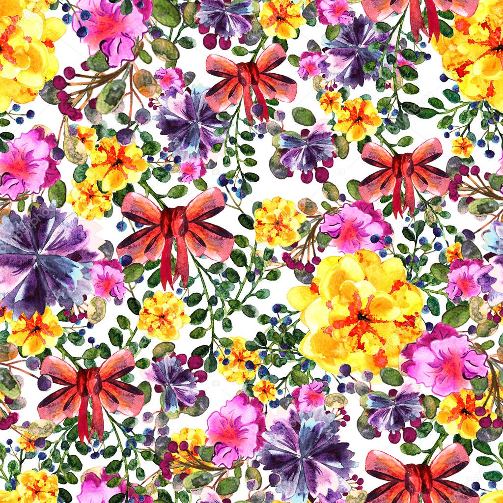 Bouquets of blue and yellow flowers with red bows on the white bouquets of blue and yellow flowers with bows on the white background watercolor seamless pattern with bunch of flowers photo by vitmann izmirmasajfo