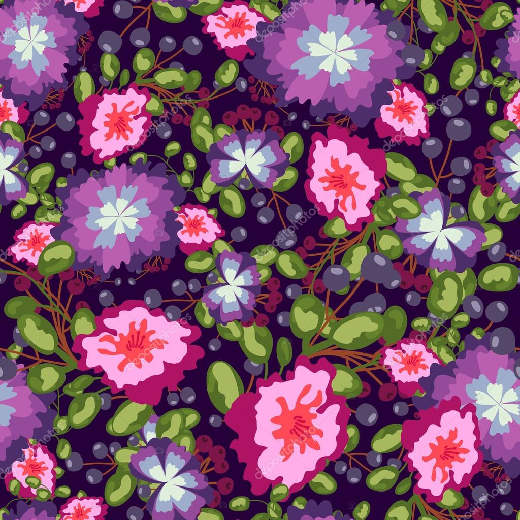 Seamless pattern of small bouquets pink and blue flowers violet seamless pattern of small bouquets pink and blue flowers violet berries green leaves vector izmirmasajfo