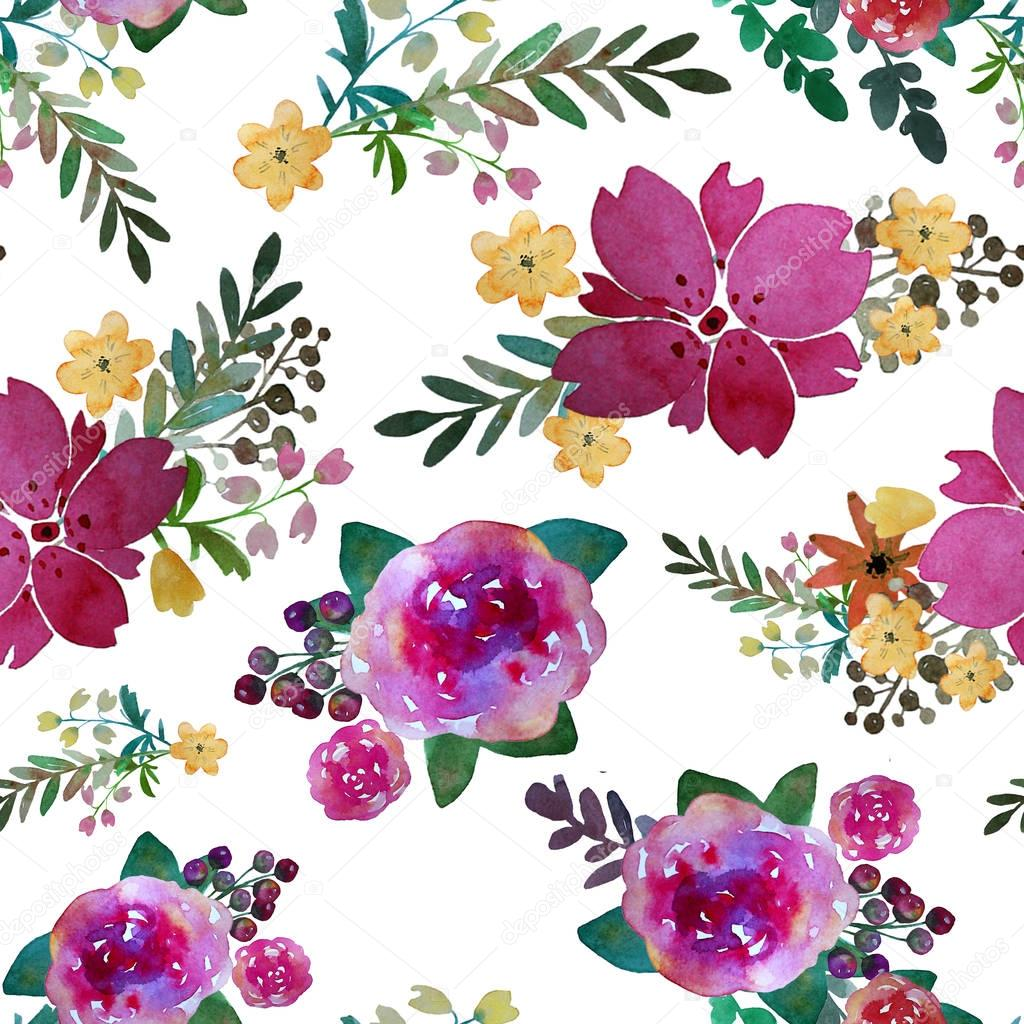 Romantic Floral Seamless Pattern With Rose Flowers And Leaf Print