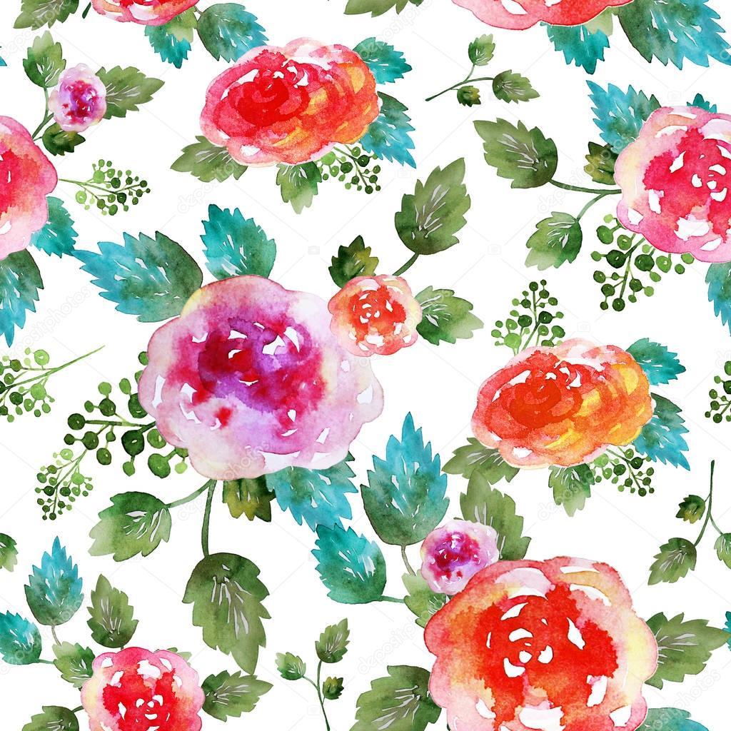 Vintage Floral Print Vintage Floral Seamless Pattern With Rose Flowers And Leaf Print