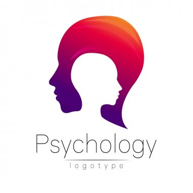Modern head logo of Psychology. Profile Human. Creative style. Logotype in vector. Design concept. Brand company. Violet red color isolated on white background. Symbol for web, print, card, flyer.