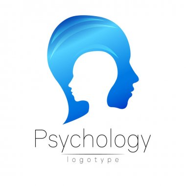 Modern head logo of Psychology. Profile Human. Creative style. Logotype in vector. Design concept. Brand company. Blue color isolated on white background. Symbol for web, print, card, flyer.