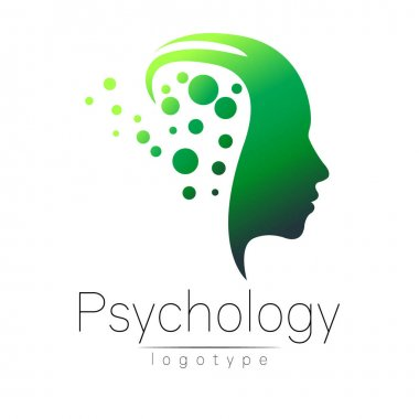 Modern head logo of Psychology. Profile Human. Creative style. Logotype in vector. Design concept. Brand company. Green color isolated on white background. Symbol for web, print, card, flyer.
