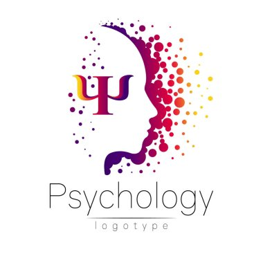 Modern head logo of Psychology. Profile Human. Letter Psi. Creative style. Logotype in vector. Design concept. Brand company. Violet color isolated on white background. Symbol for web, print
