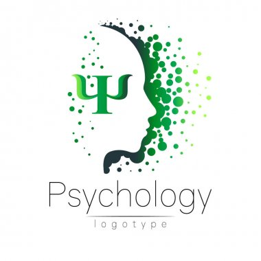 Modern head logo of Psychology. Profile Human. Letter Psi. Creative style. Logotype in vector. Design concept. Brand company. Green color isolated on white background. Symbol for web, print