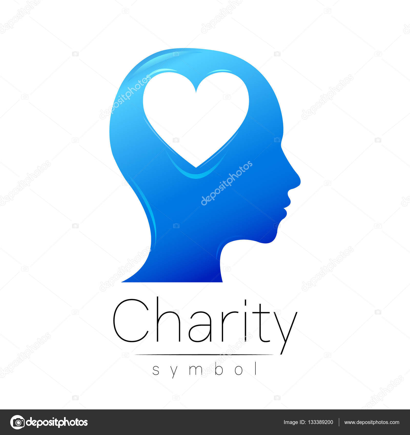 Vector illustration symbol of charity sign head heart isolated symbol of charity sign head heart isolated on white background biocorpaavc