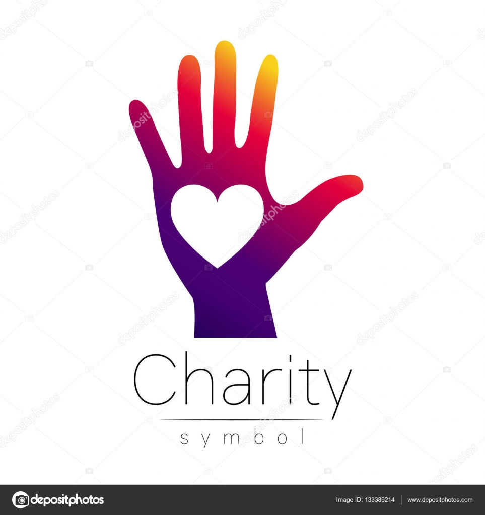 Vector Illustration Symbol Of Charity Sign Hand Heart Isolated On