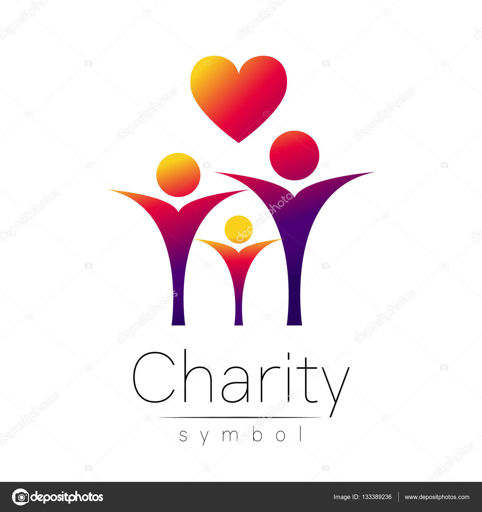 Vector Illustration Symbol Of Charitygn People Heart Isolated On
