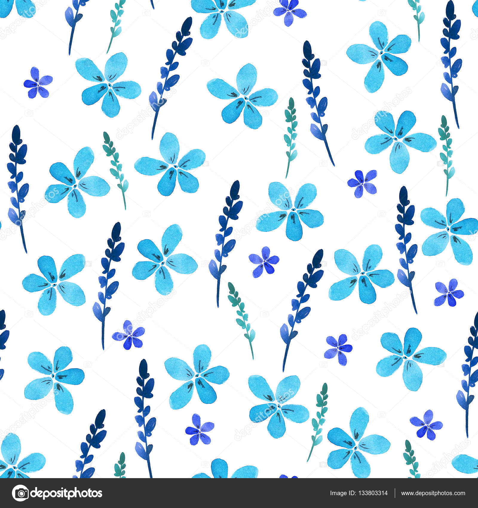 Seamless Floral Pattern With Watercolor Blue Flowers And Leaves In Vintage Style Hand Made Ornate For Textile Fabric Wallpaper Print