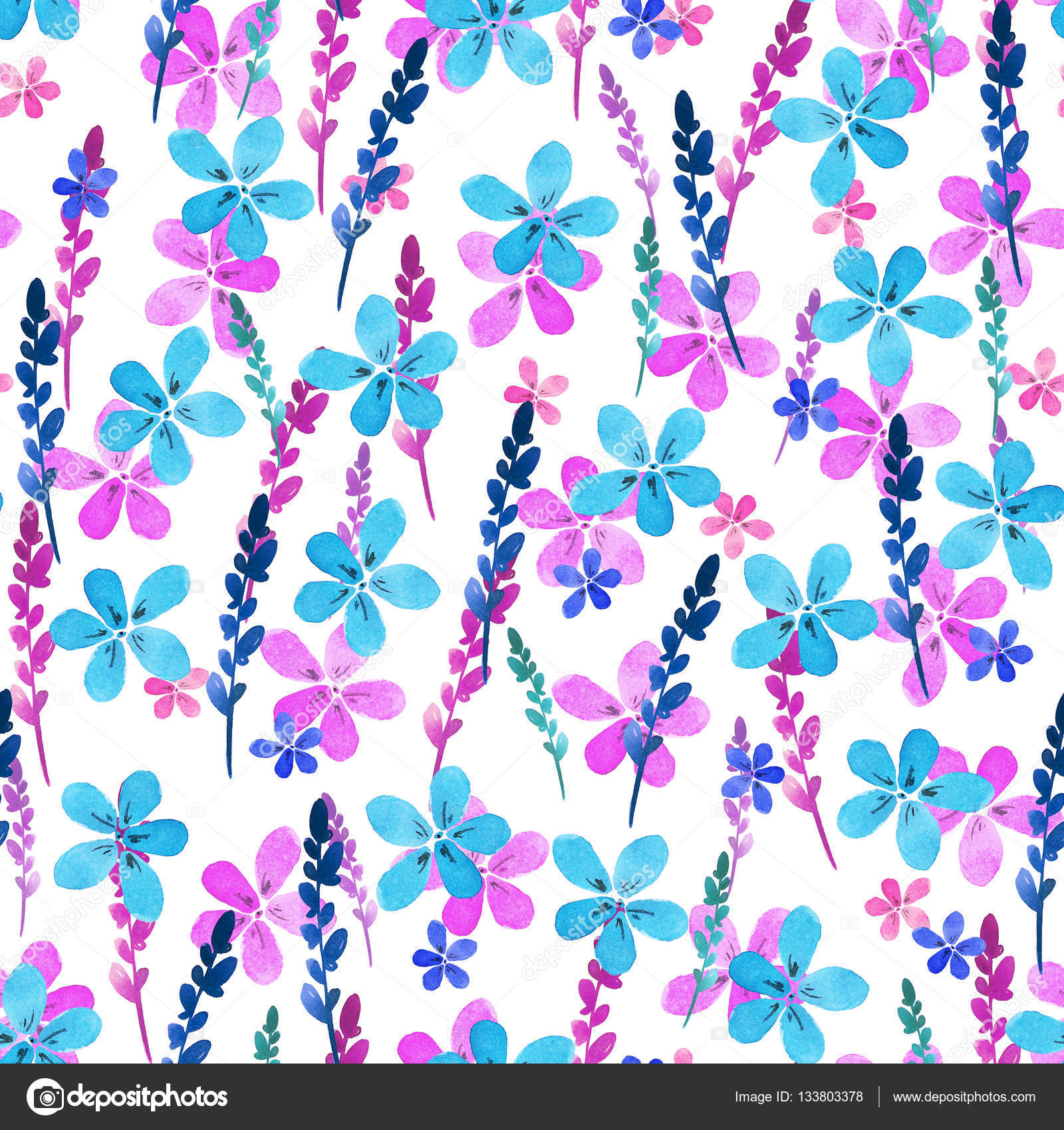 Seamless floral pattern with watercolor blue pink flowers and ...