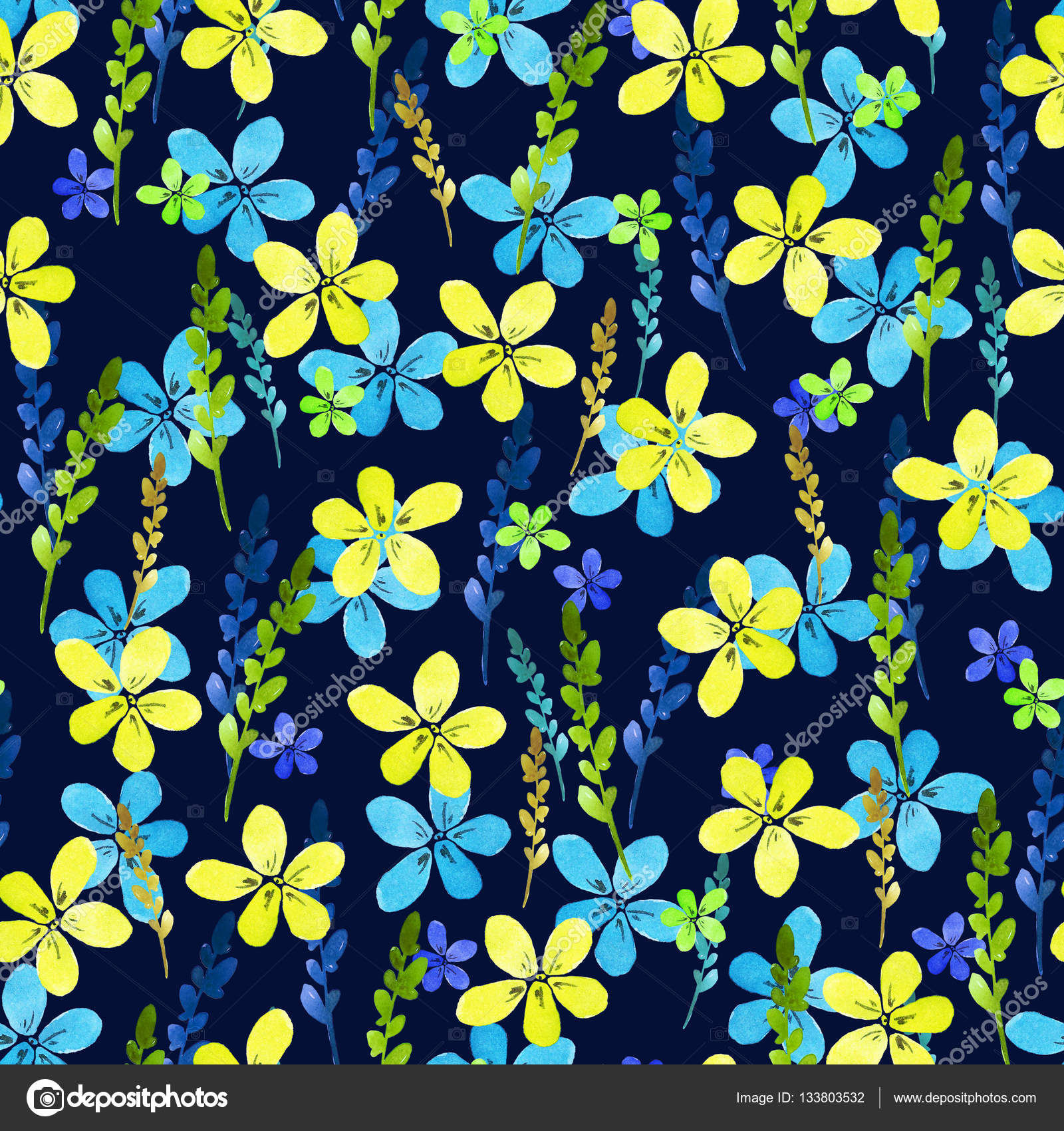 Seamless Floral Pattern With Watercolor Blue Yellow Flowers And
