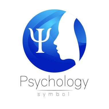 Modern head Logo sign of Psychology. Profile Human. Letter Psi. Creative style. Symbol in vector. Design concept. Brand company. Blue color isolated on white background. Icon for web, logotype.