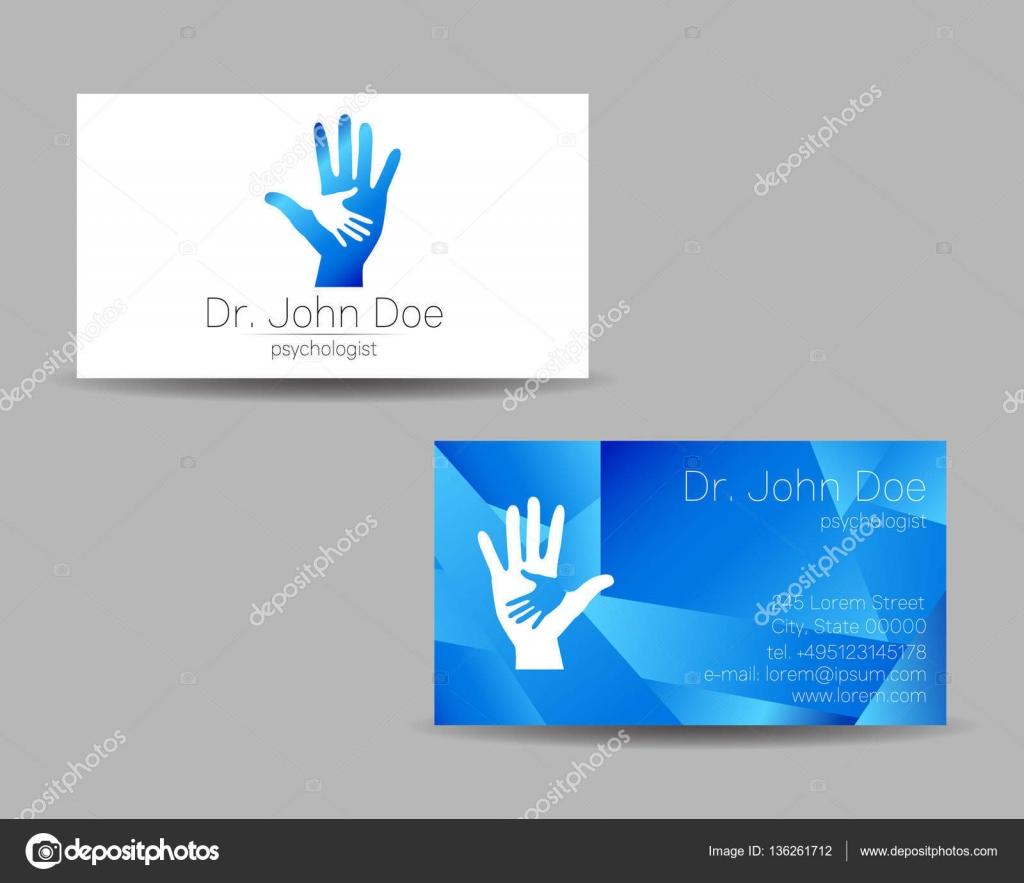 Carte De Visite Vecteur Psychologie Logo Moderne Style Creatif Concept Design Compagnie La Marque Couleur Bleue Isolee Sur Fond Gris