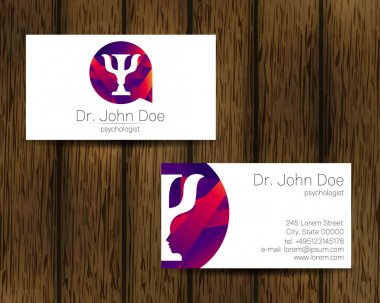 Psychology vector visit card. Modern logo. Creative style. Design concept. Brand company. Violet color isolated on tree background. Symbol for web, print. vVsiting personal set