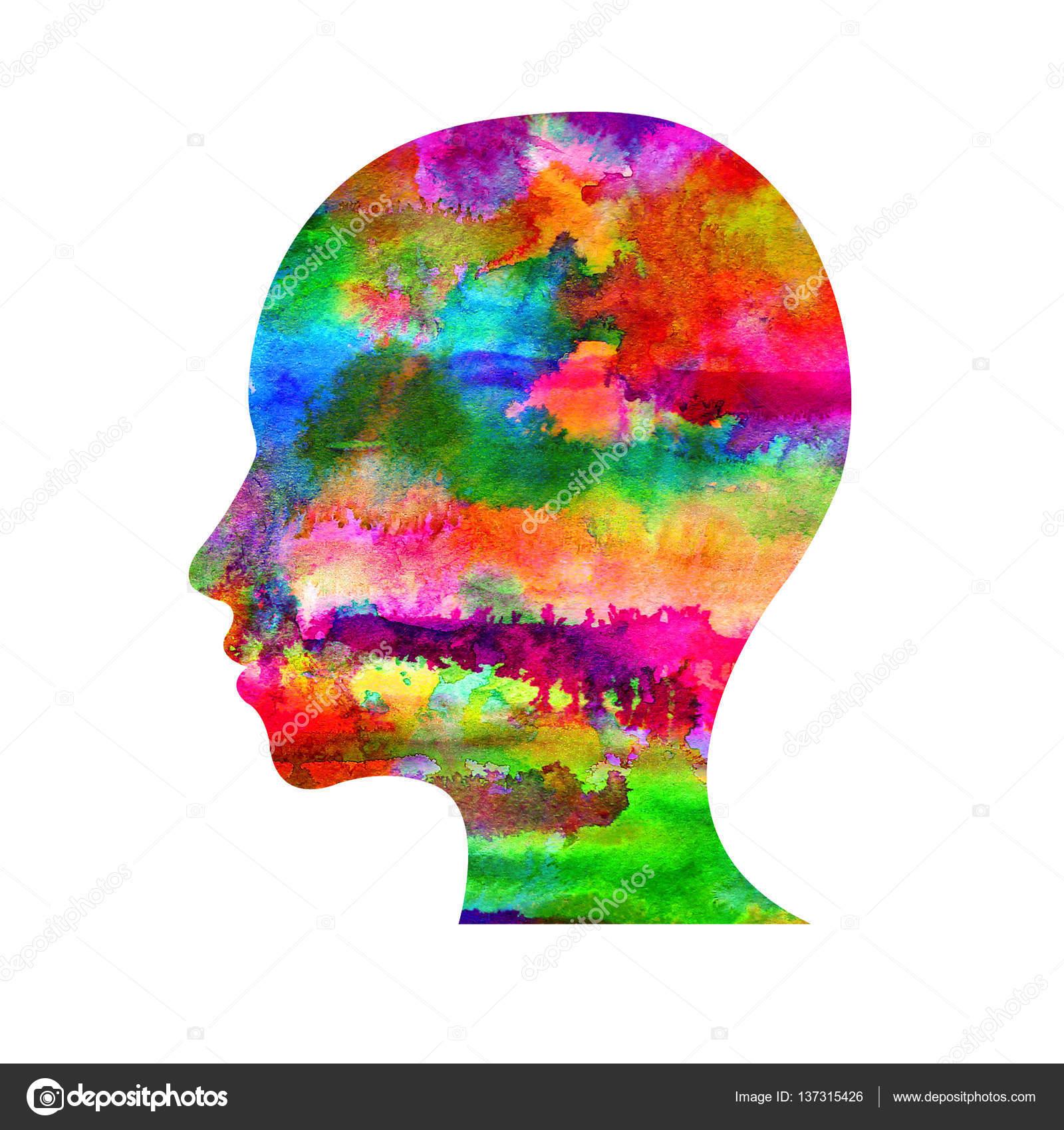 Wundervoll Moderne Aquarell Kopf Logo Der Psychologie. Profil Menschlich.  Kreativmodus. Schriftzug In. Design Konzept. Markenfirma. Regenbogen Helle  Farbe Isoliert Auf ...