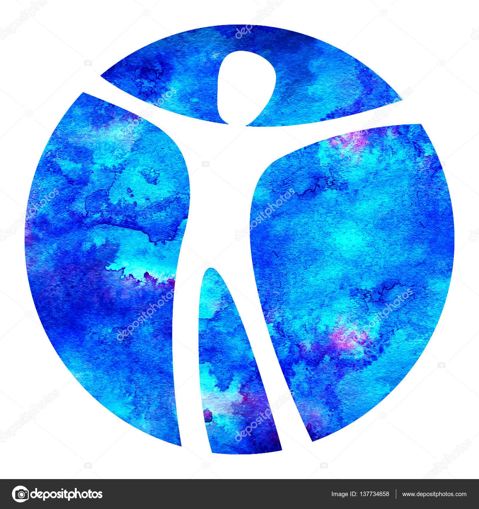 Watercolor Logo Modern Man Sign Of Psychology Human In A Circle