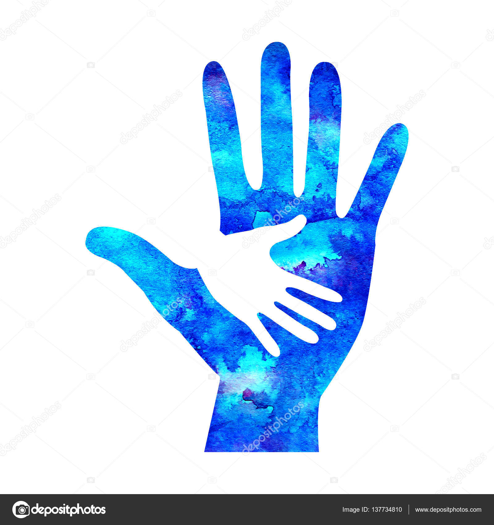 Watecolor Logo Illustration Symbol Of Charity Sign Hand Isolated