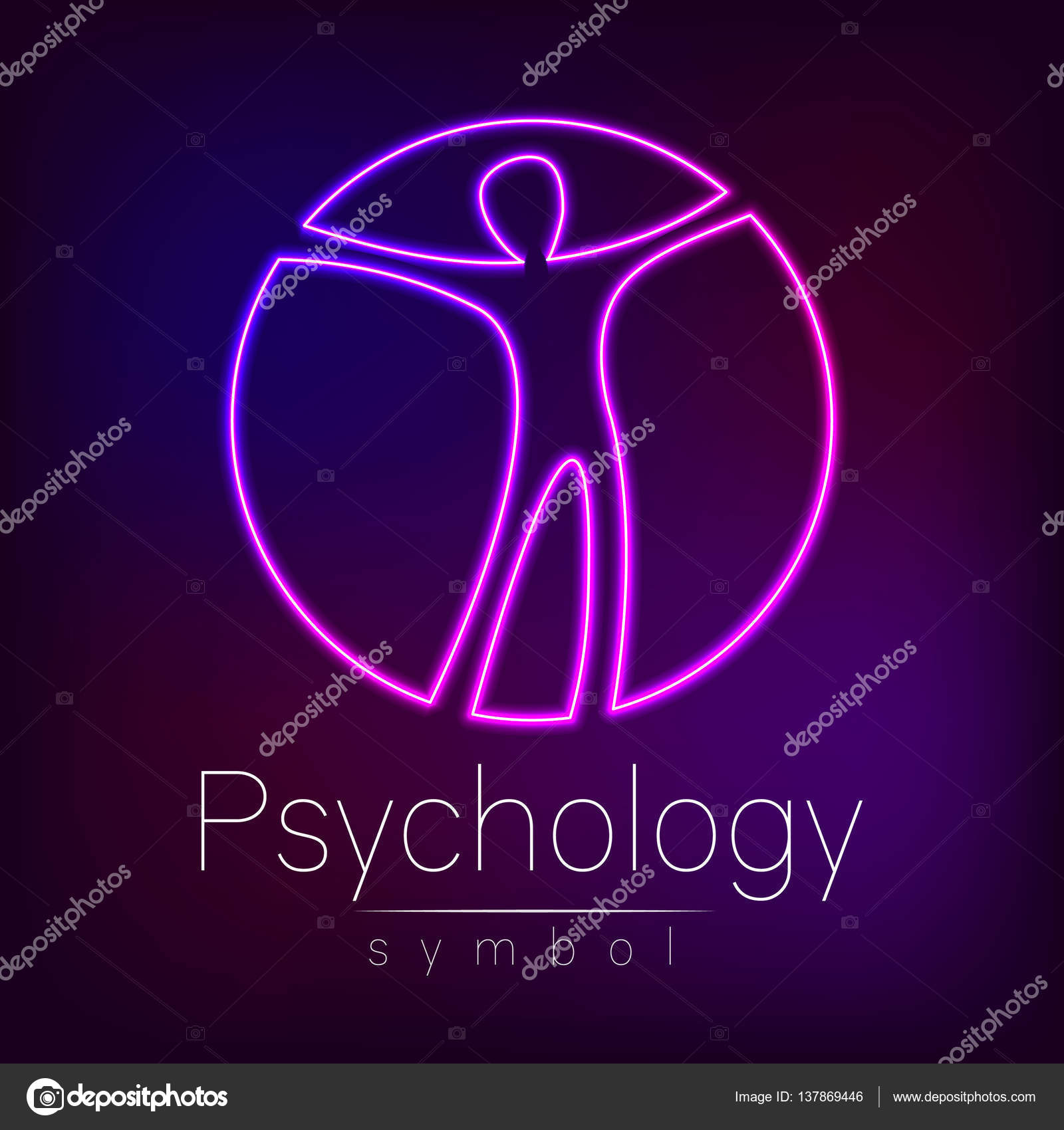 Neon Logo Modern Man Sign Of Psychology Human In A Circle Creative