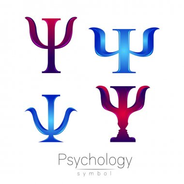 Modern logotype Sign Set of Psychology. Psi. Creative style. Icon in vector. Design concept. Brand company. Logo blue violet color letter on white background. Symbol for web, print, card, flyer.