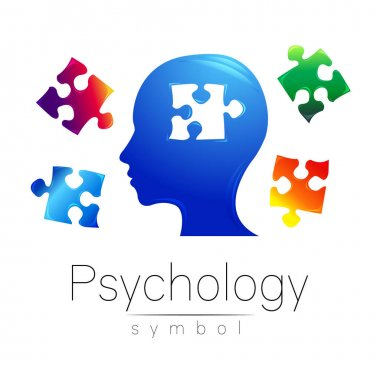 Modern head Logo sign of Psychology. Puzzle. Profile Human. Creative style. Symbol in vector. Design concept. Brand company. Blue color isolated on white background. Icon for web, print, logotype