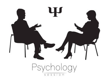 The psychologist and the client. Psychotherapy. Psychotherapeutic session. Psychological counseling. Man woman talking while sitting. Silhouette. Black profile. Moderd symbol logo. Design concept.Sign