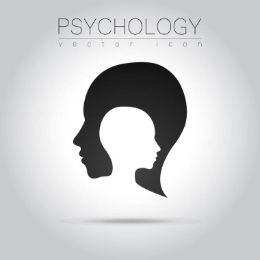 Modern head logo of Psychology. Profile Human. Creative style. Logotype in vector. Design concept. Brand company. Black grey color isolated on white background. Symbol for web, print, card, flyer.