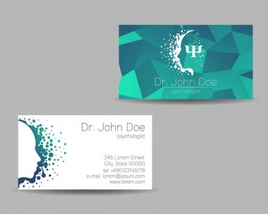 Psychology vector visit card. Modern Sign. Creative style. Design concept. Brand company. Green blue color isolated on grey background. Symbol for web, print. visiting personal set