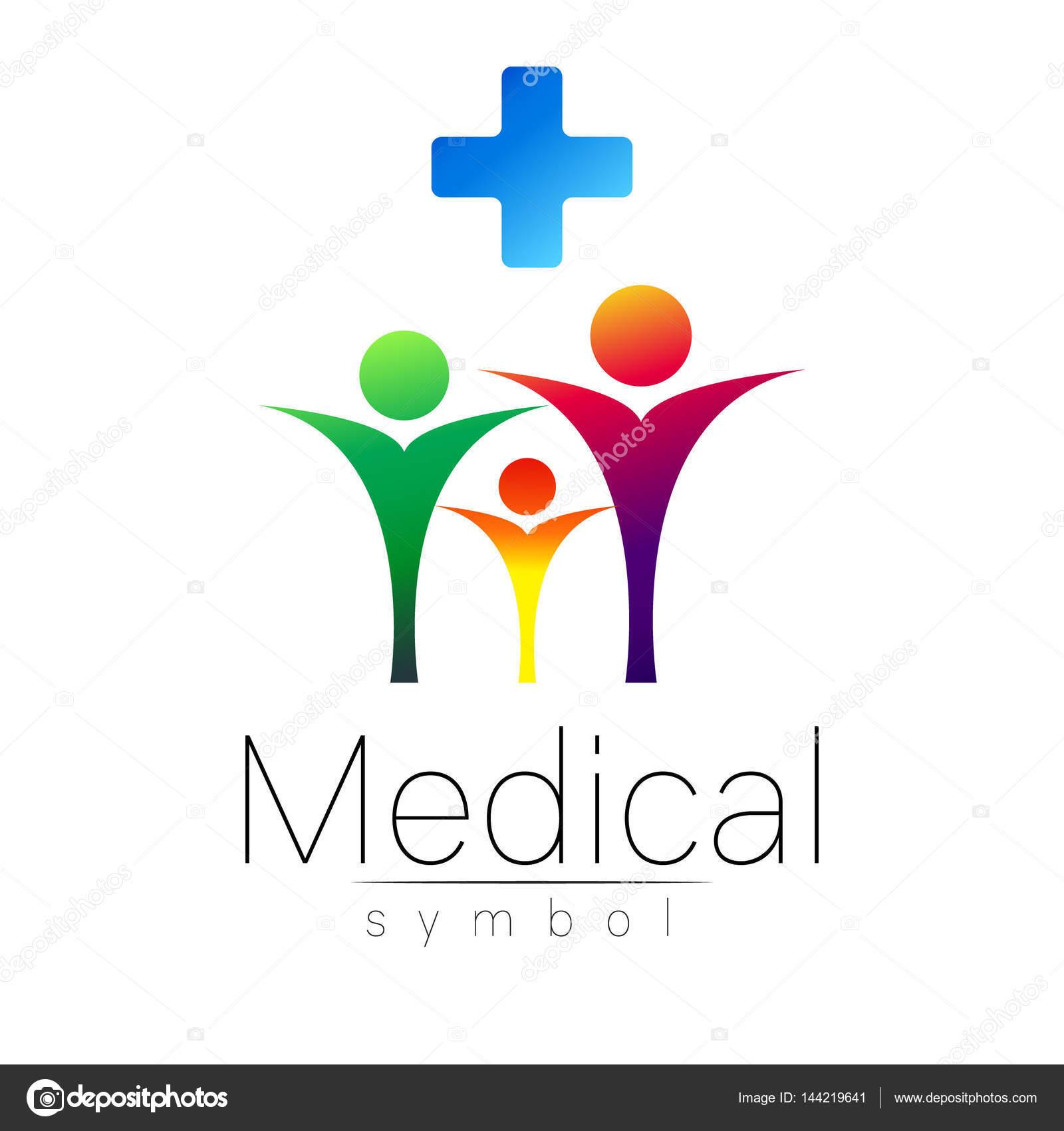 Signe Clinique Avec Croix Famille De Vecteur Symbole Pour Les Mdecins Site Internet Carte Visite Icne Bleu Couleur Violet Jaune Vert