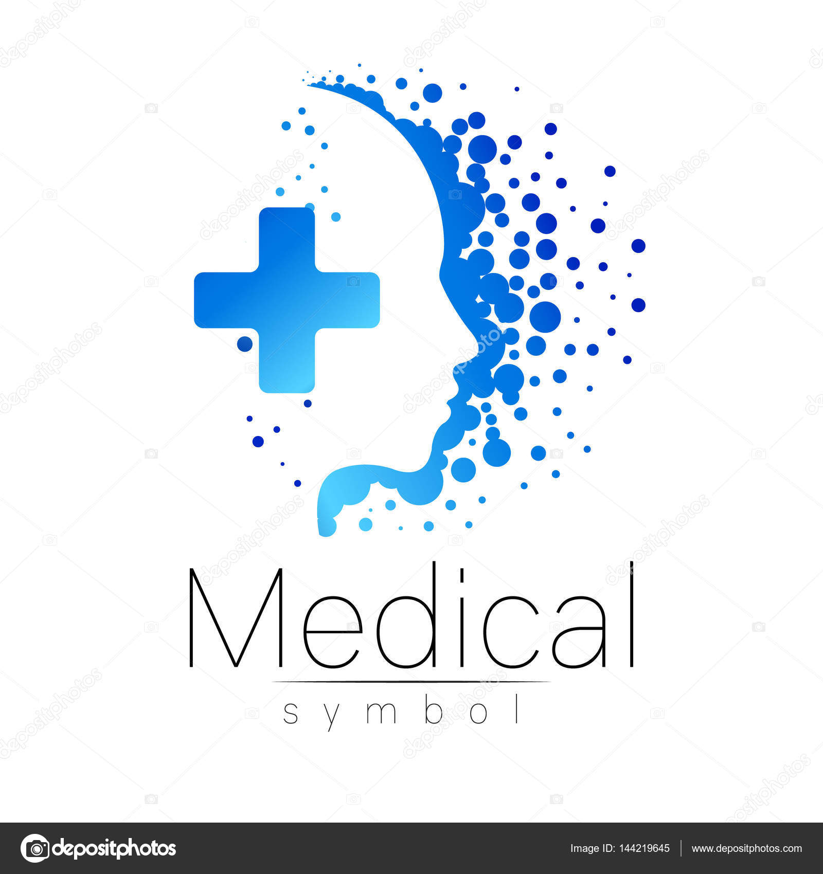 vector medical sign with cross inside human profile
