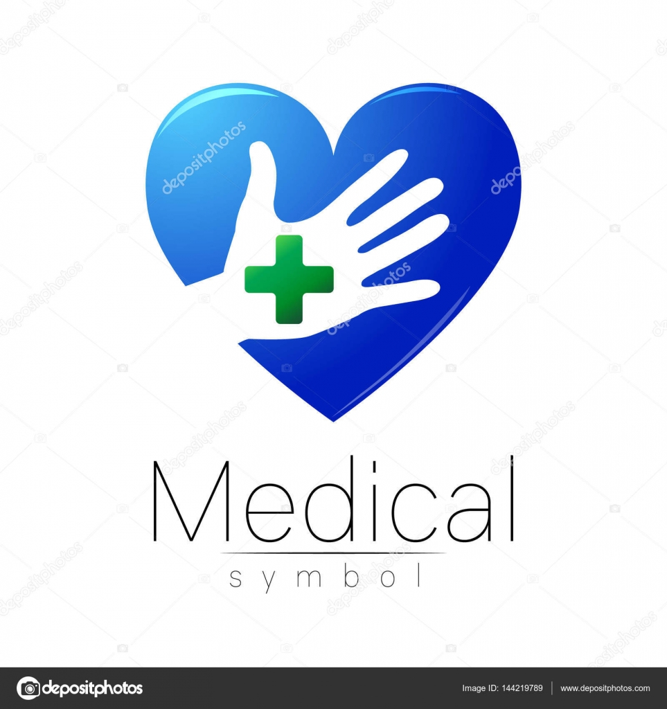 Vector Medical Sign With Cross On Hand In Heart Inside Symbol For