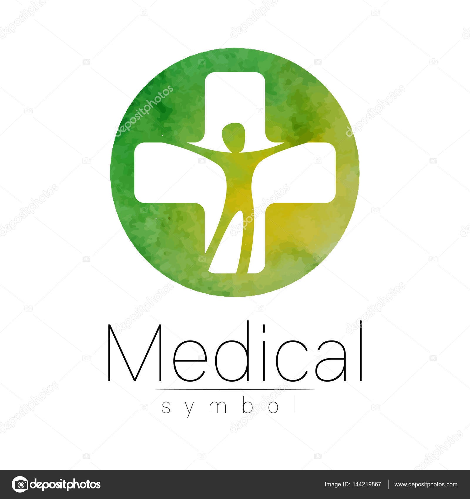 vector medical sign with cross human inside symbol for