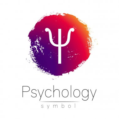 Modern logo of Psychology. Psi. Creative style. Logotype in vector. Design concept. Brand company. Pink color blot and letter on white background. Symbol for web, print, card, flyer. Brush stroke