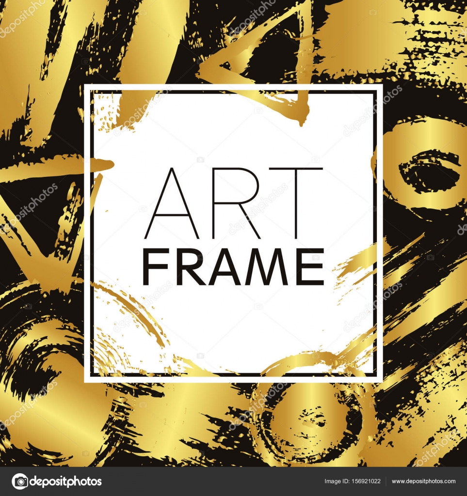 Plaza de arte marco. Oro elementos de gradiente. Trazos de pincel ...