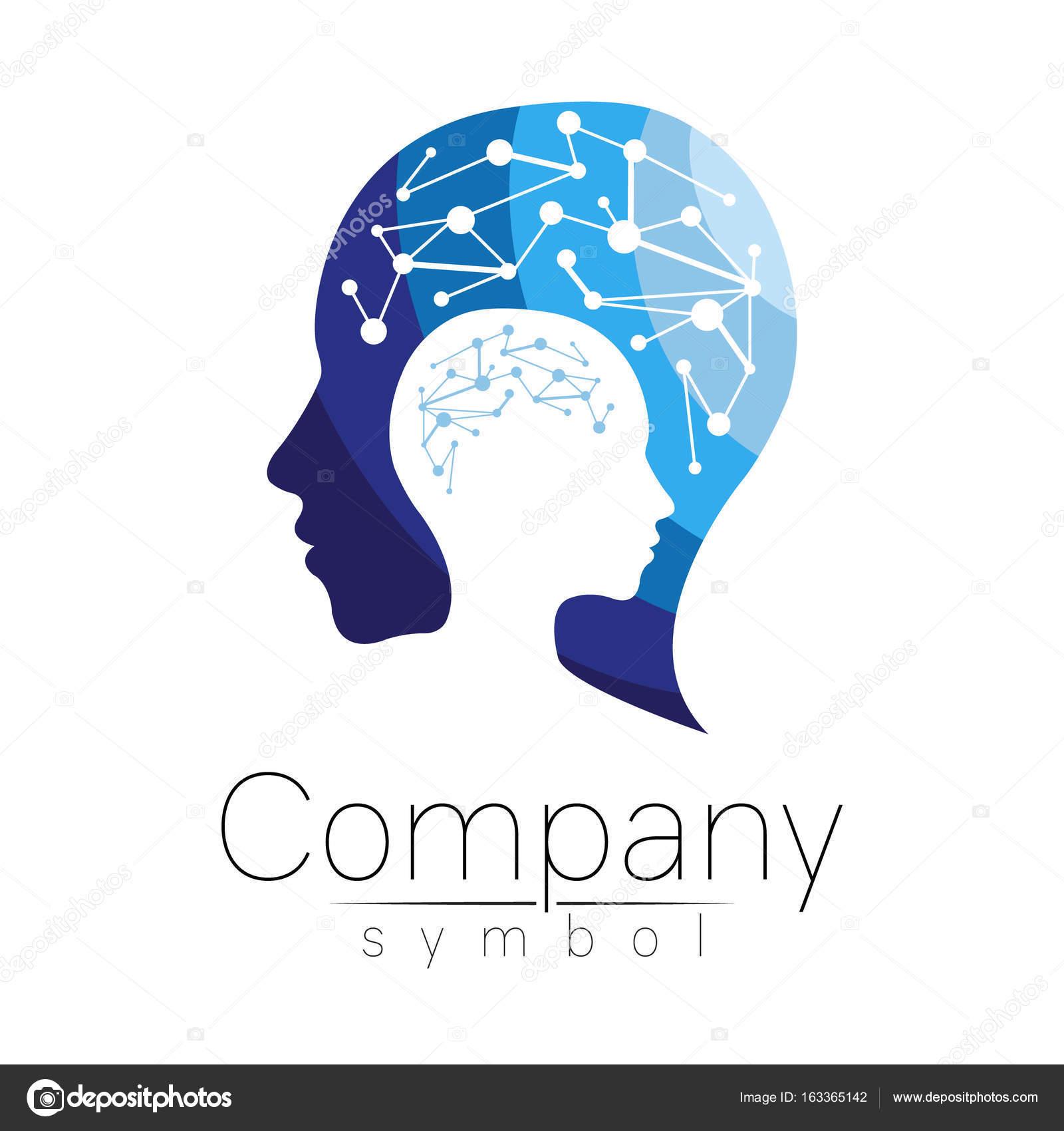 Vector symbol of human head. Profile face. Blue color
