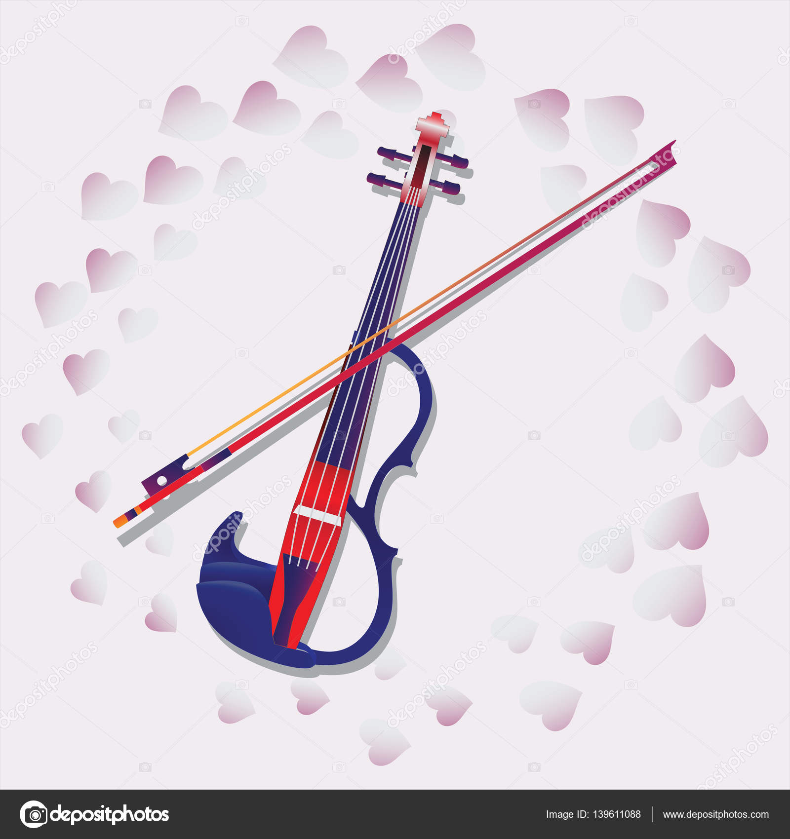 My love violin for ticketing souvenir program anons in composition with pink hearts for greetings on valentines day engagement wedding vector by velishchuknatali kristyandbryce Image collections
