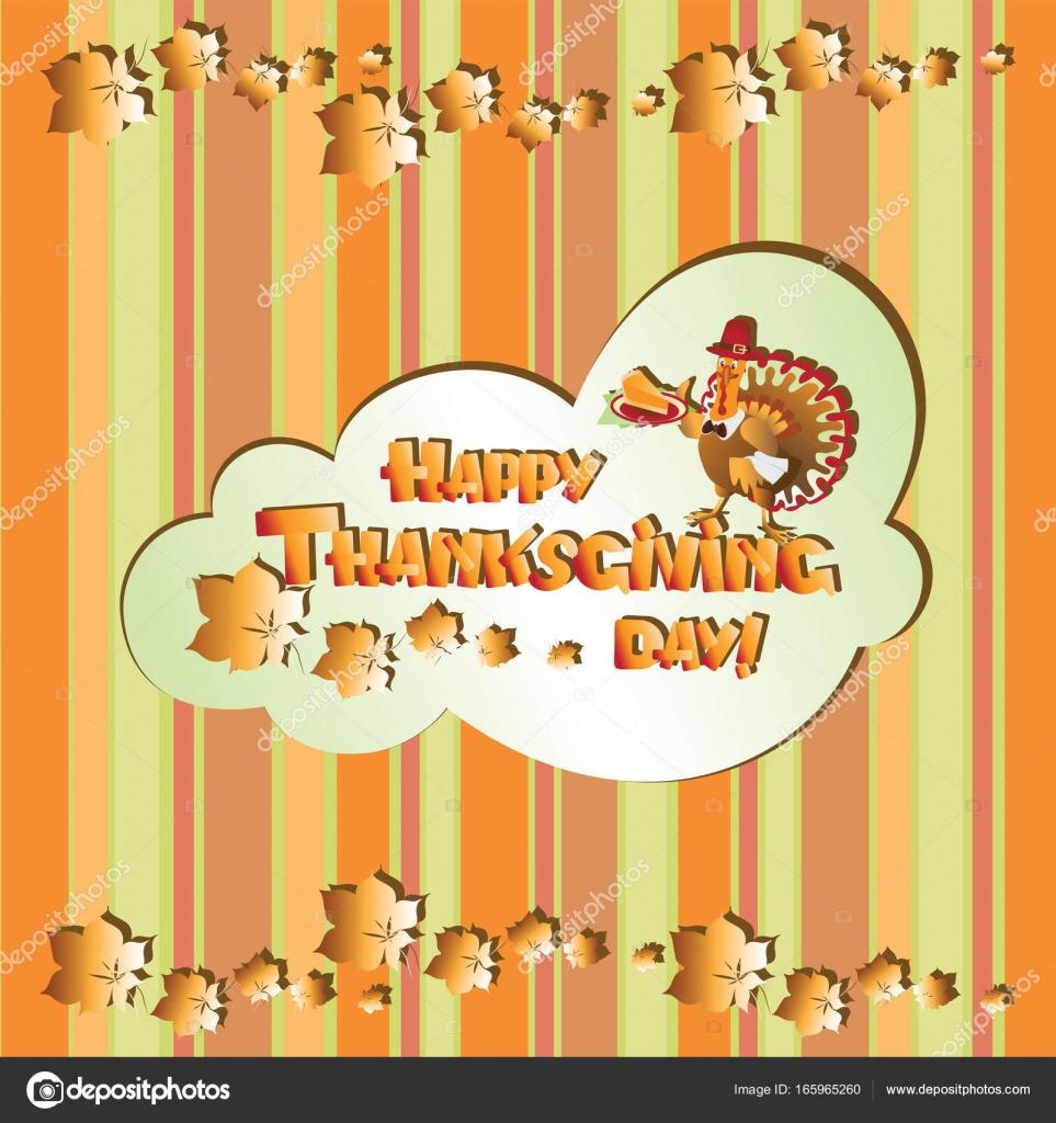 Funny Turkey Bird Thanksgiving Day Stock Vector