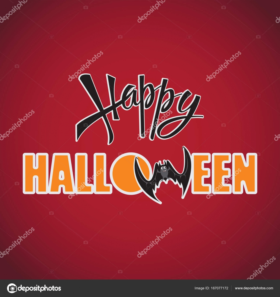 Happy halloween inscription on a red background stock vector happy halloween inscription on a red background design of the message banner poster festive calligraphy with a banner poster greeting card m4hsunfo