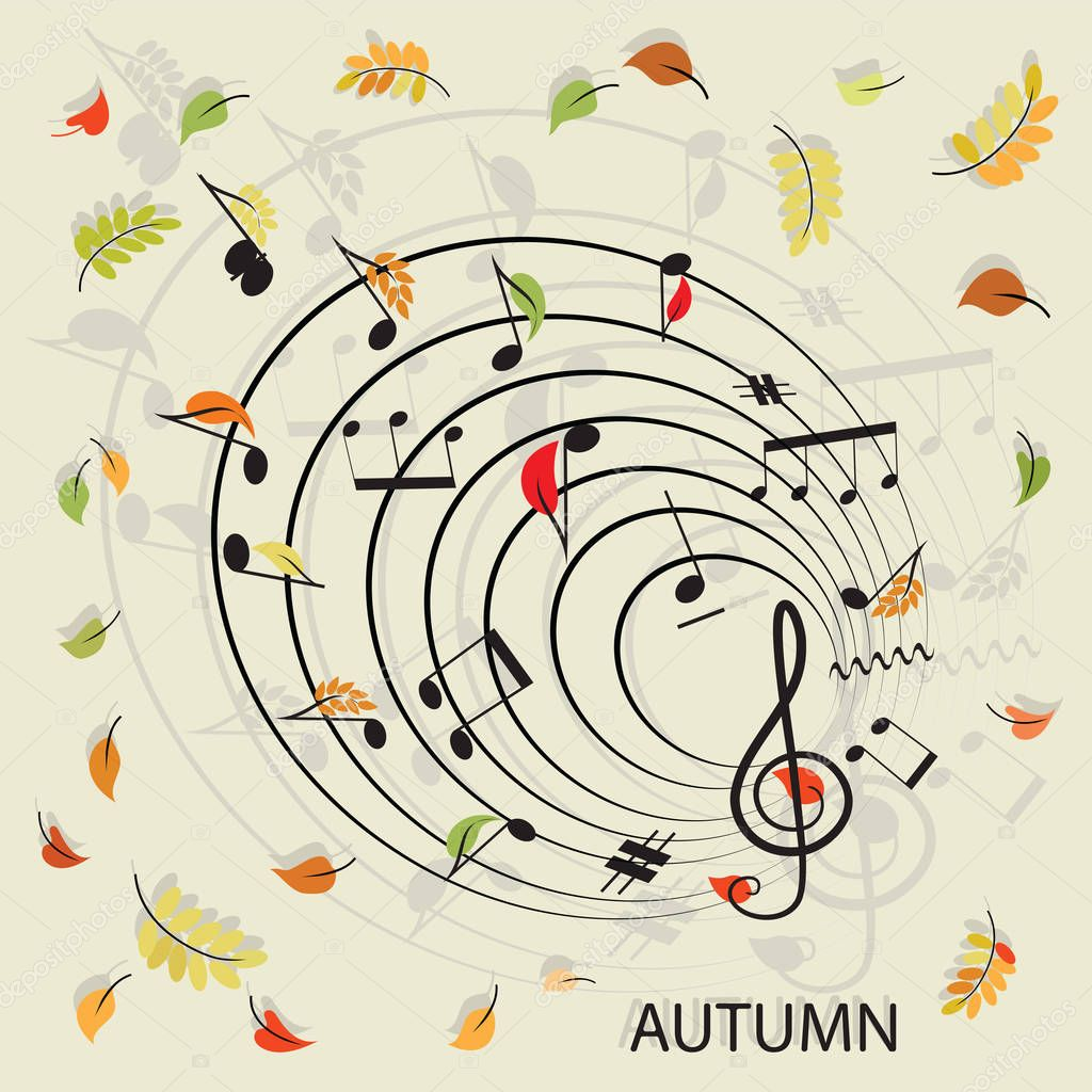 Notes. Music. Leaf fall.
