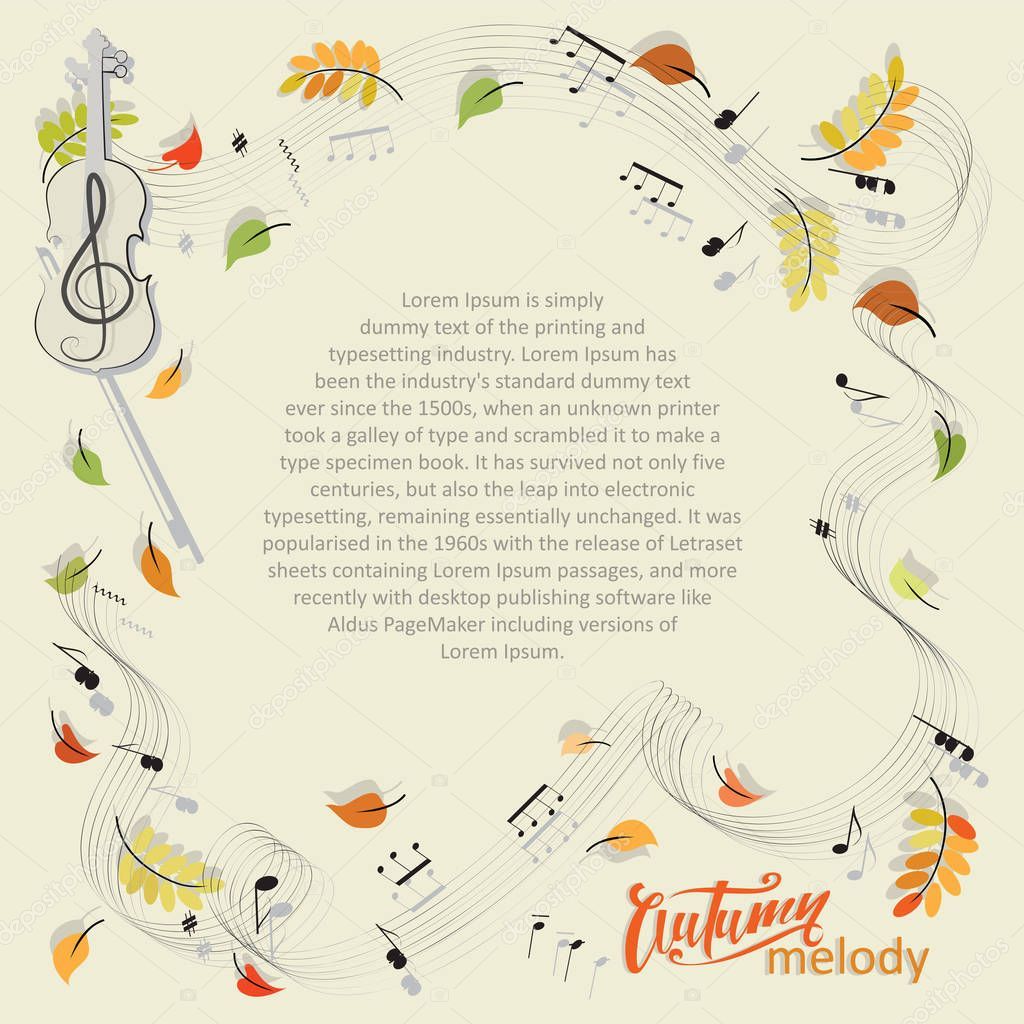 Autumn melody. Violin, notes, leaves.