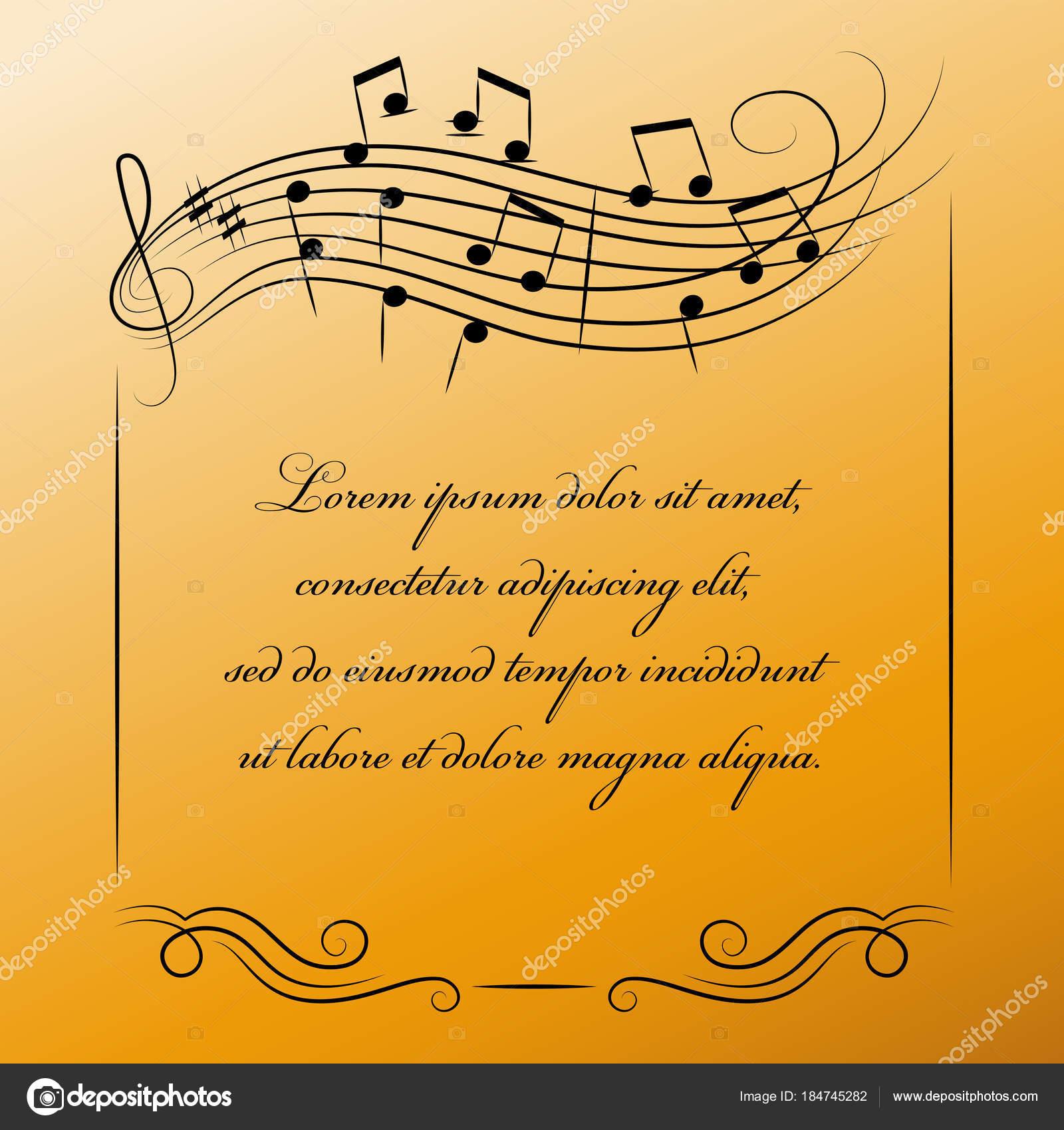 Marco musical con lugar para el texto en fondo de oro — Vector de ...