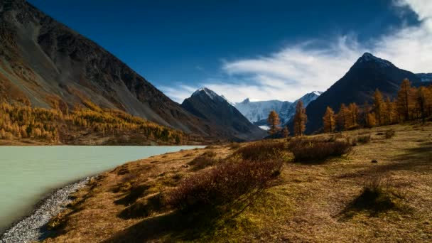 Time Lapse.Changing weather at Akkem lake and mountain Belukha. Autumn Altai, Russia.