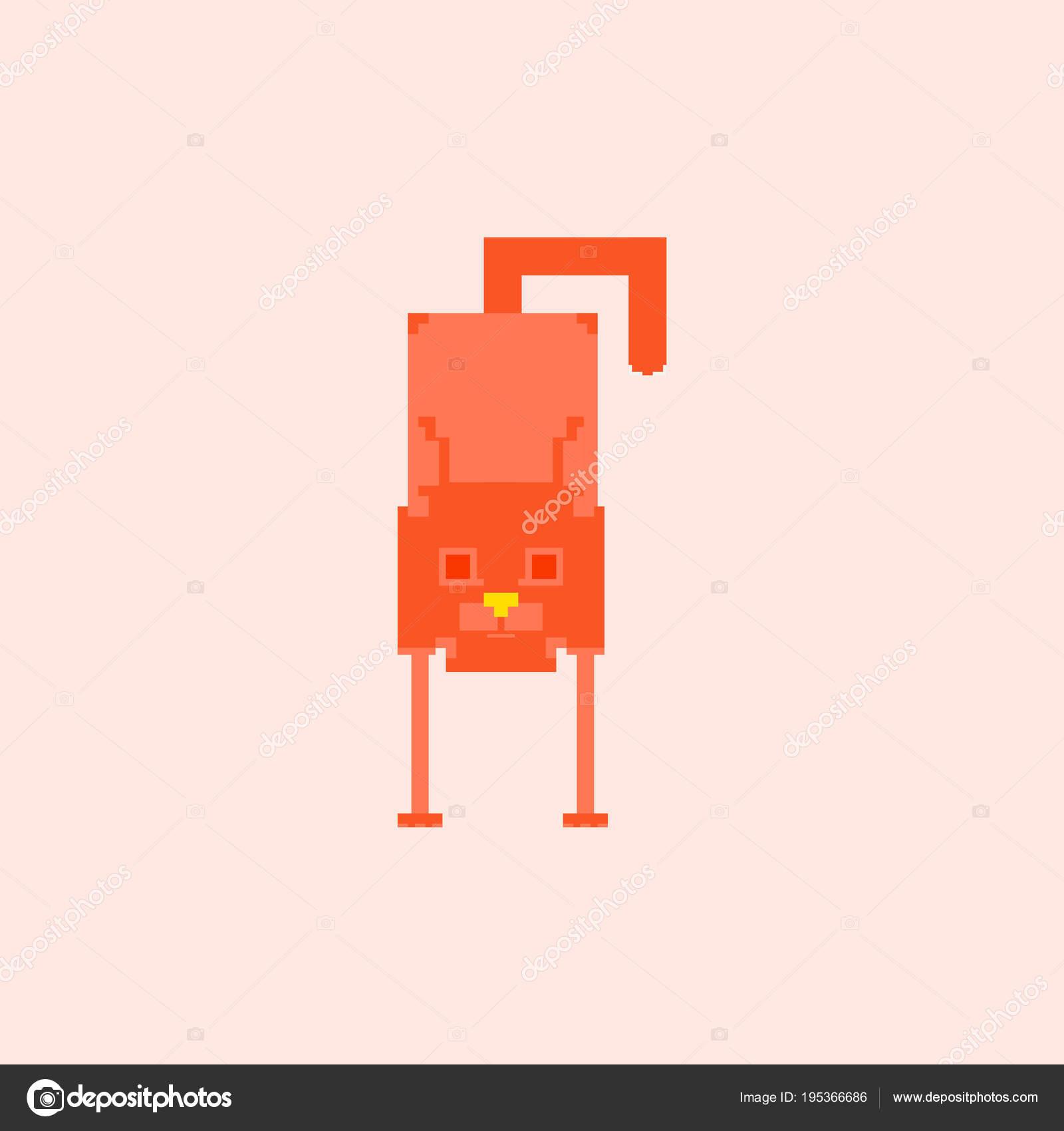 Mignon Chaton Domestique Dans Style Simple Pixel Art Image