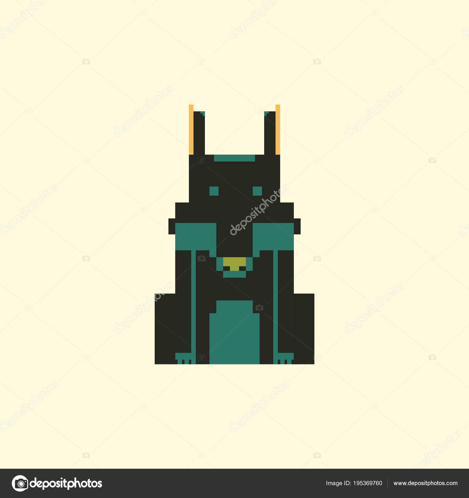Simple Wolf Pixel Art Cute Wolf Simple Pixel Art Style