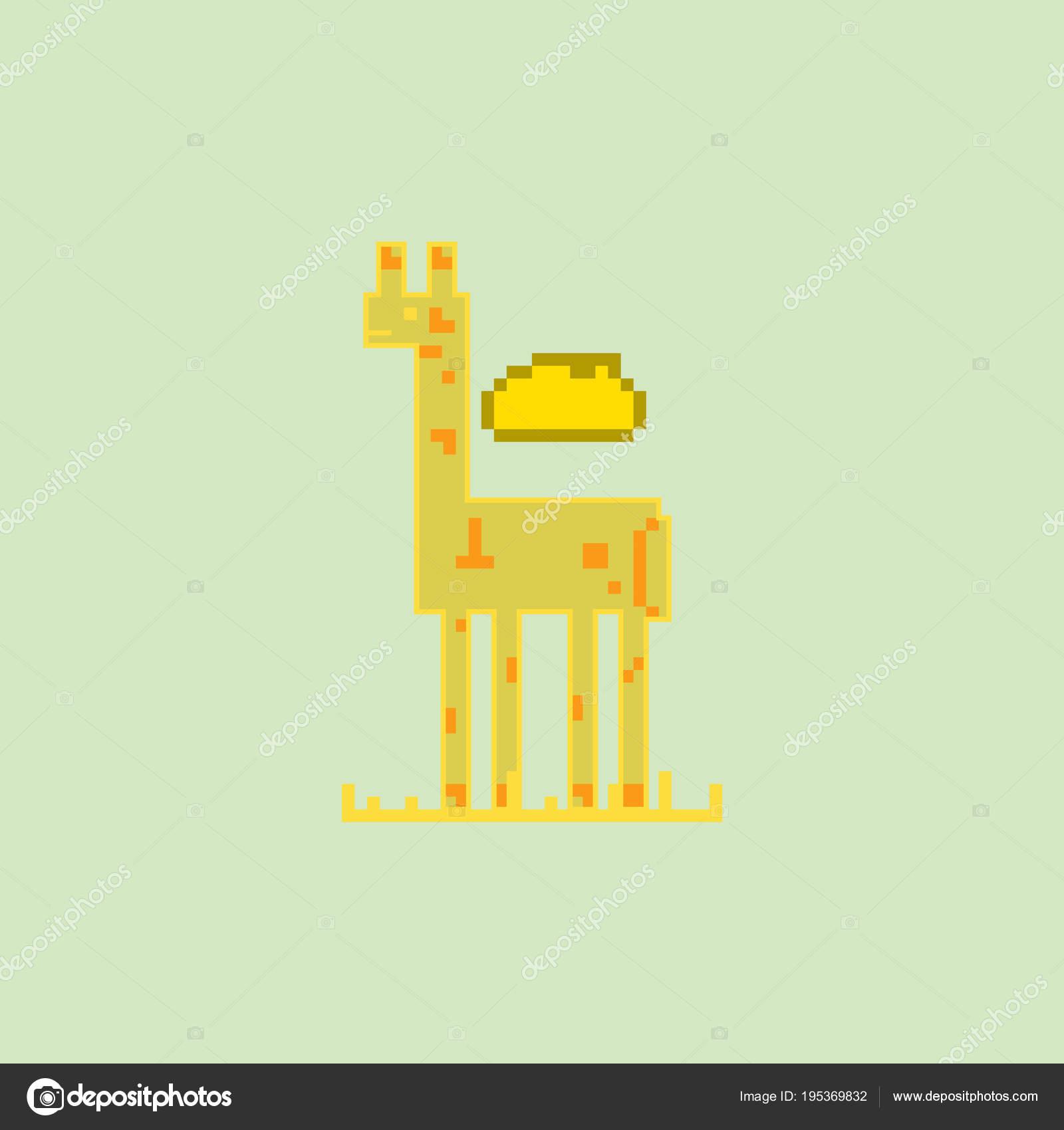 Girafe Mignon Dans Style Simple Pixel Art Image
